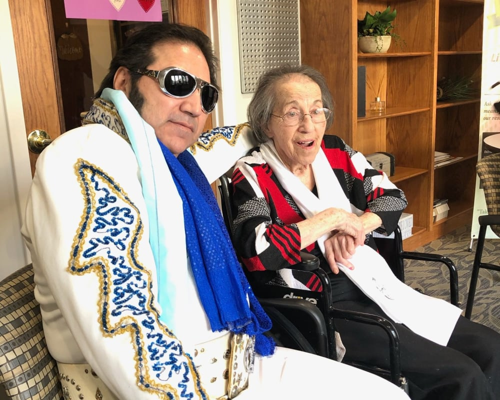Resident Clara meets 'Elvis' for her dare to dream event at The Atrium in Rockford, Illinois.