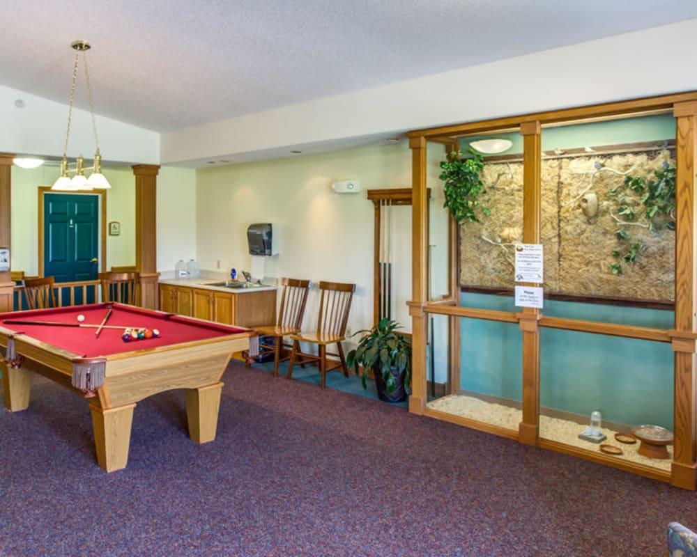 Spacious billiard room at Prairie Hills in Independence, Iowa.