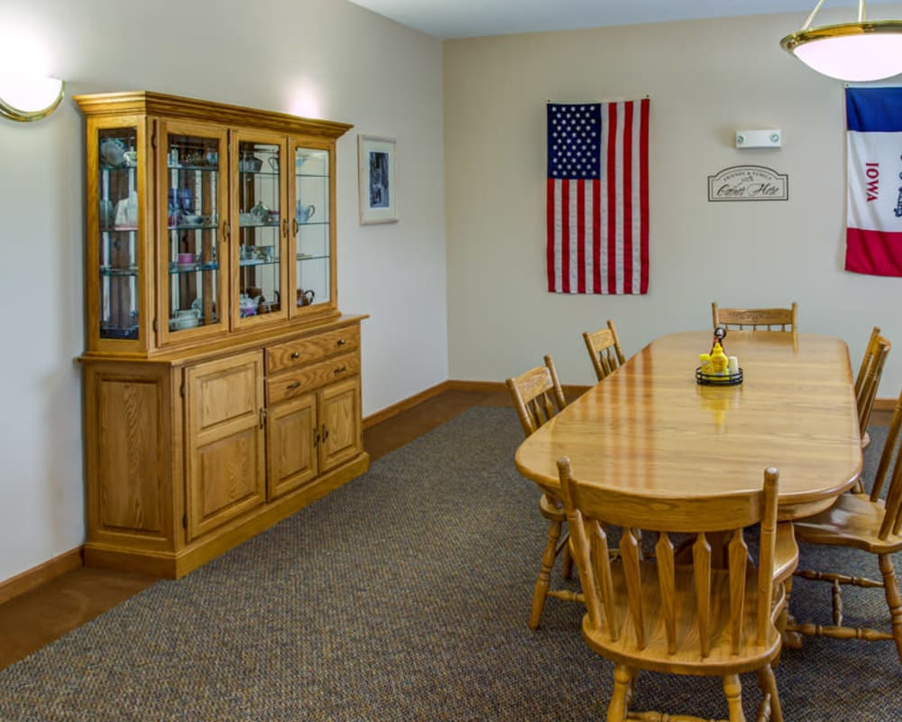 Private resident dining room at SunnyBrook Carroll in Carroll, Iowa.