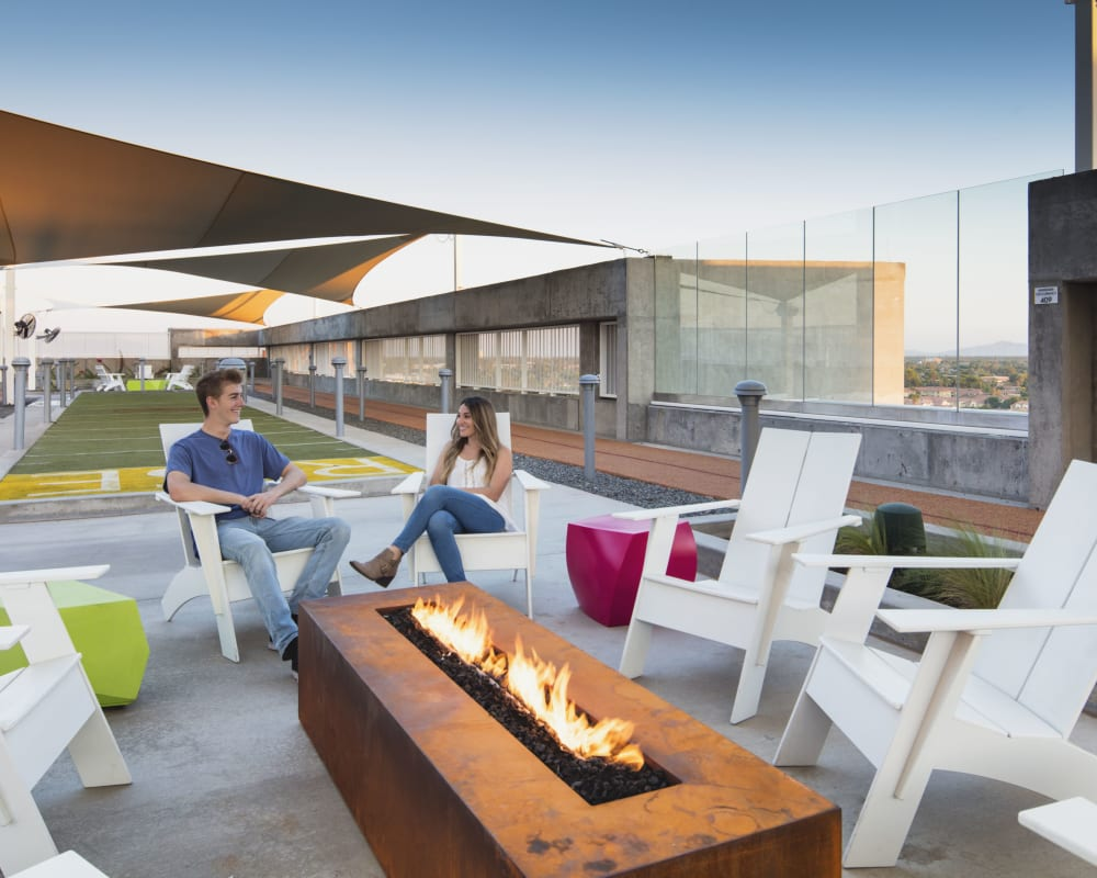 Outdoor fireplace at RISE on Apache in Tempe, Arizona