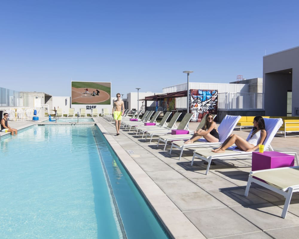 Sparkling swimming pool at RISE on Apache in Tempe, Arizona