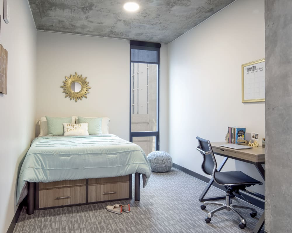 Bright, spacious bedroom at RISE on Apache in Tempe, Arizona