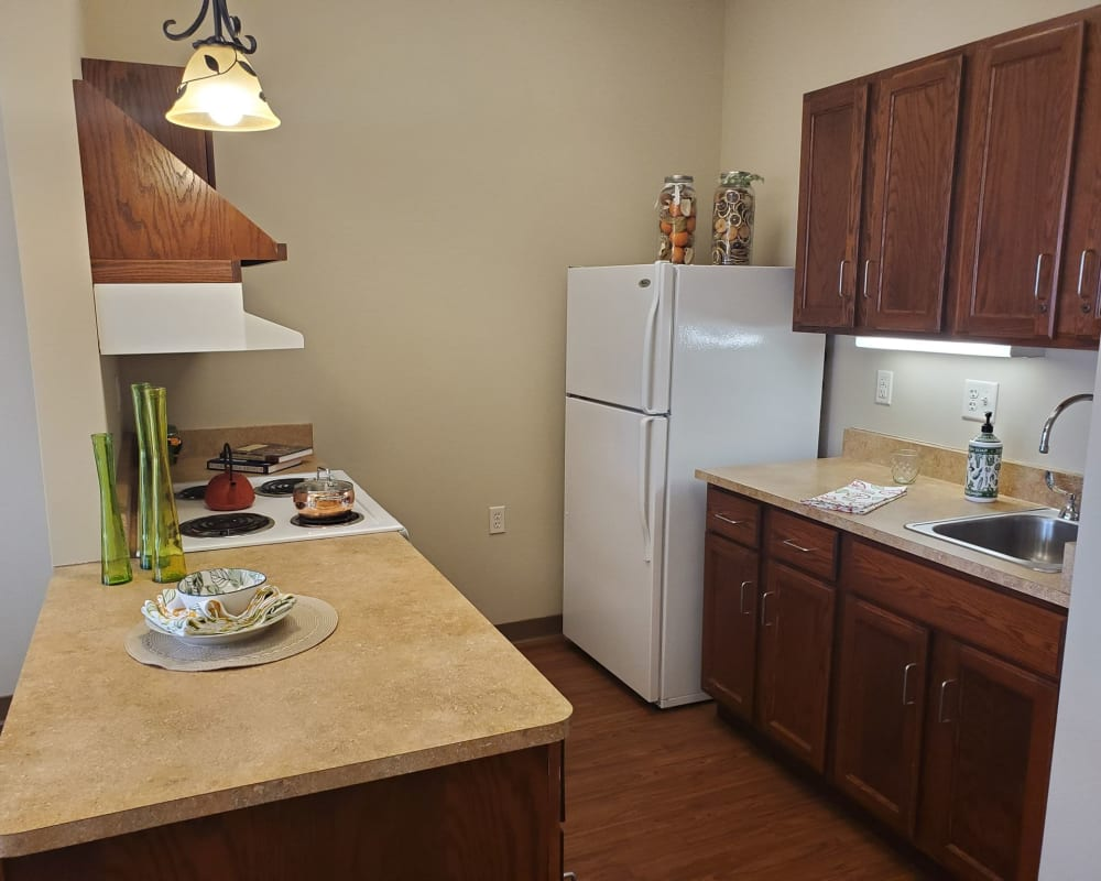 Full kitchens are available at Milestone Senior Living Eau Claire in Eau Claire, Wisconsin.