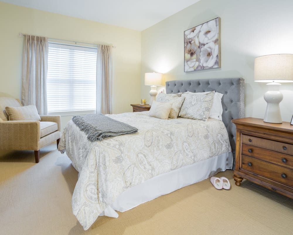 A decorated bedroom at Harmony at West Shore in Mechanicsburg, Pennsylvania