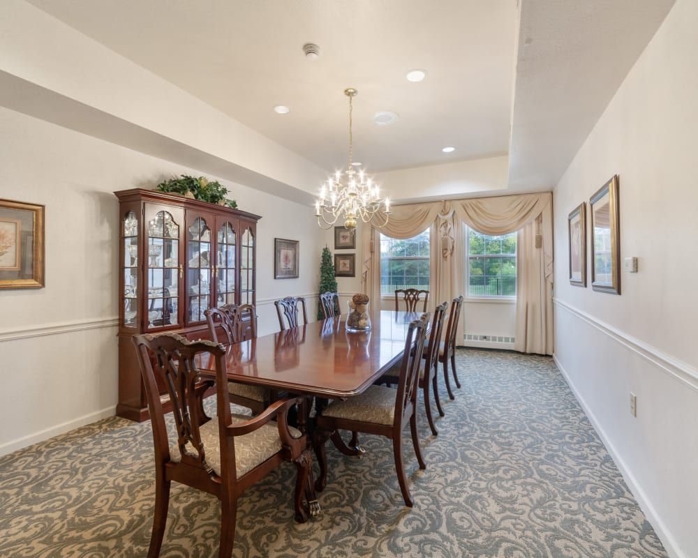 Private family dining room at The Hearth at Stones Crossing in Greenwood, Indiana