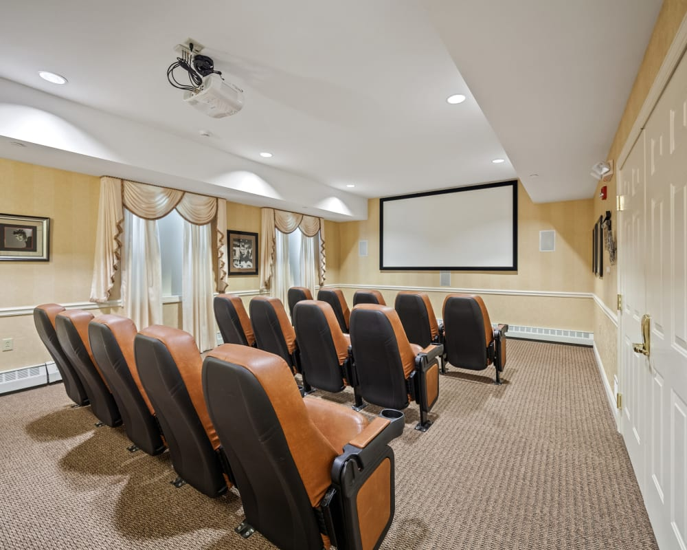 miniature movie theater inside The Hearth at Tudor Gardens in Zionsville, Indiana