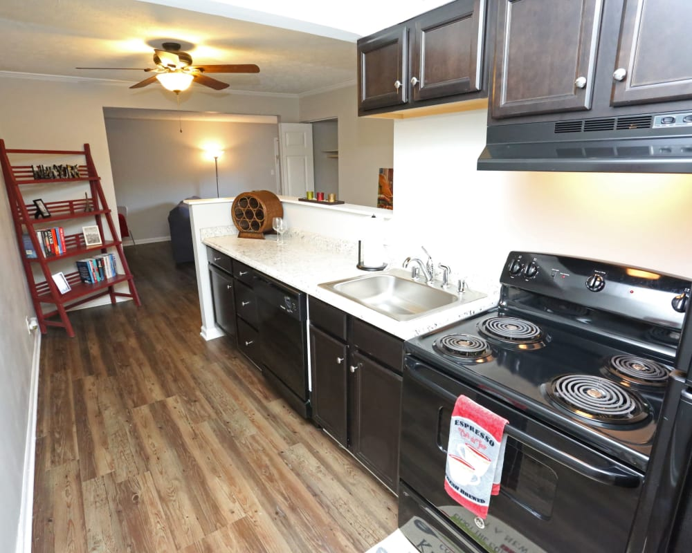 Stainless-steel appliances in model home at Willowbrook Apartments in Louisville, Kentucky