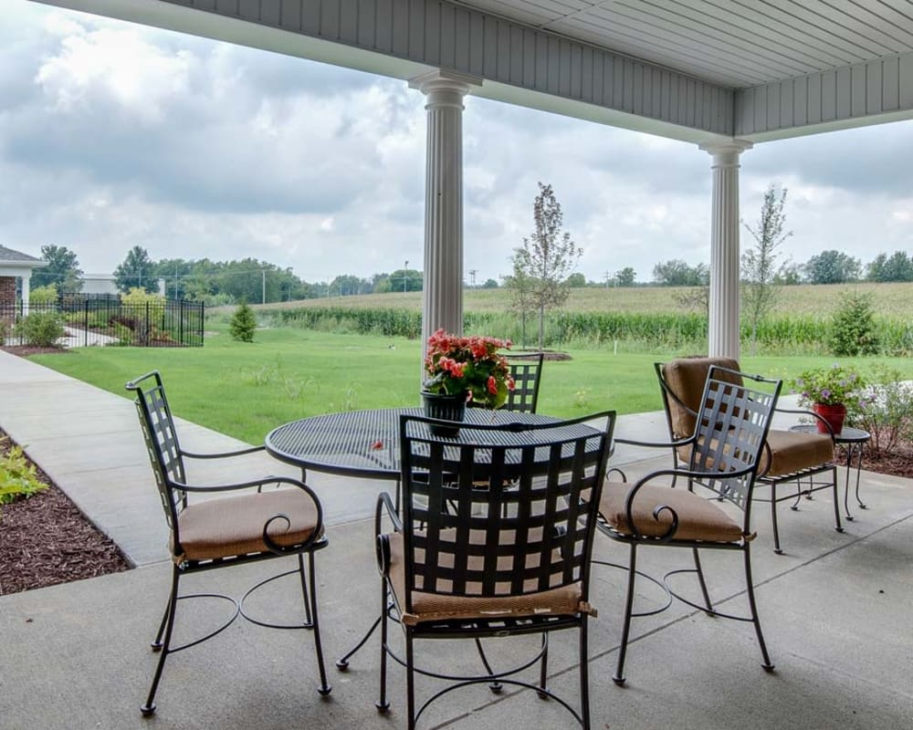 Patio with an amazing view at Field Pointe Assisted Living in Saint Joseph, Missouri
