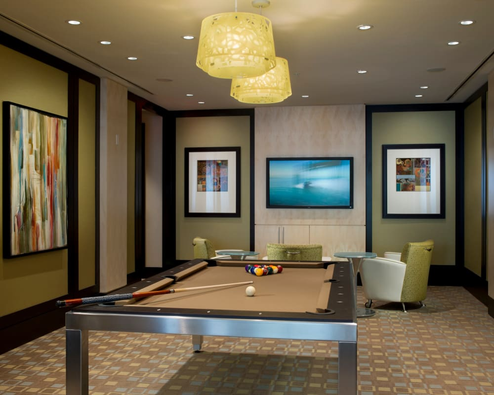 Rustic clubhouse with billiards room at Solaire 1150 Ripley in Silver Spring, Maryland