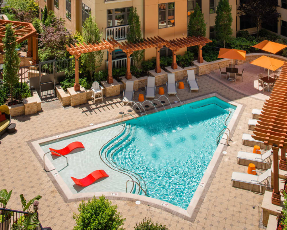 Modern Resort-Style Pool with Sun Deck at Solaire 10914 Georgia in Silver Spring, Maryland