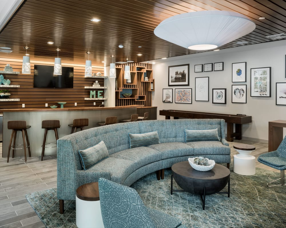 Indoor clubhouse lounge at The Beacon at Gateway in Scarborough, Maine