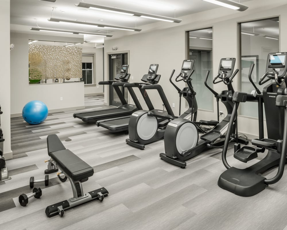 Fitness center at The Beacon at Gateway in Scarborough, Maine