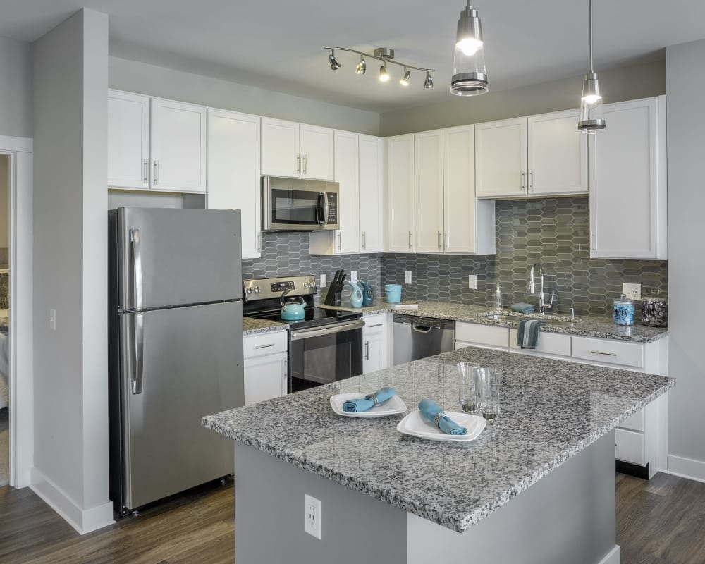 Ktichen with stainless steel appliances at The Beacon at Gateway in Scarborough, Maine