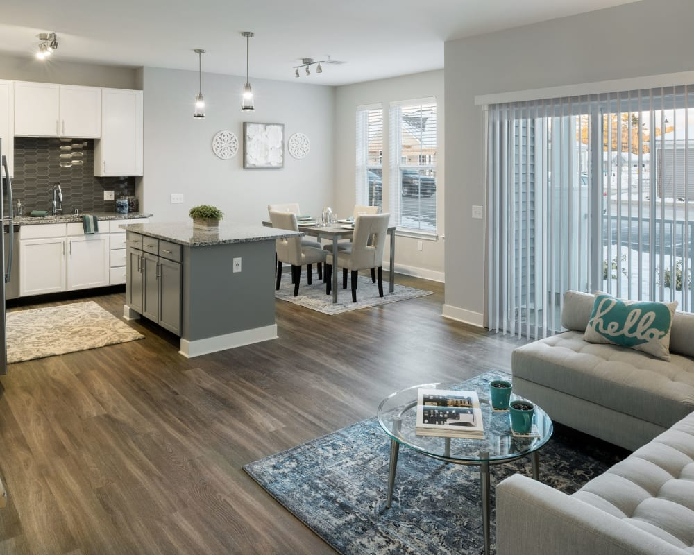 Bright, spacious living area at The Beacon at Gateway in Scarborough, Maine