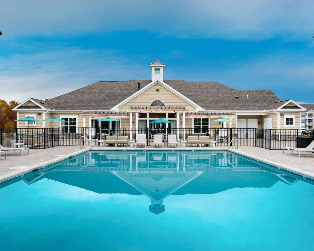 Resort-style swimming pool at The Beacon at Gateway in Scarborough, Maine