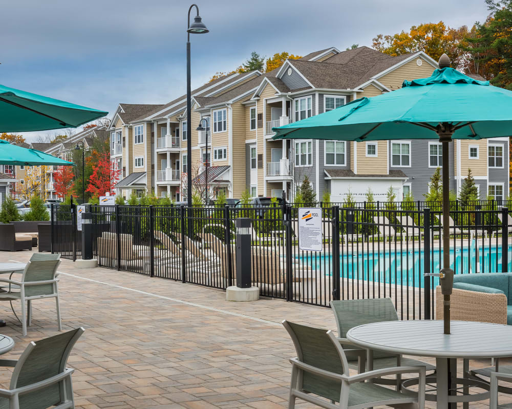 Outdoor patio at The Beacon at Gateway in Scarborough, Maine