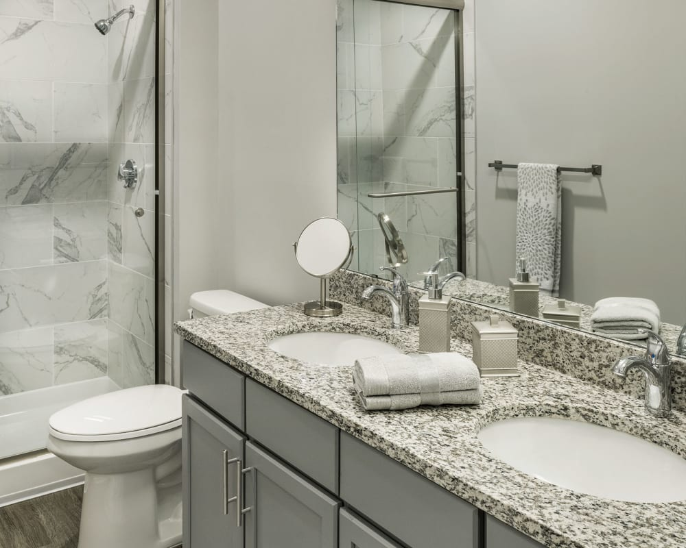 Bright clean bathroom at The Beacon at Gateway in Scarborough, Maine