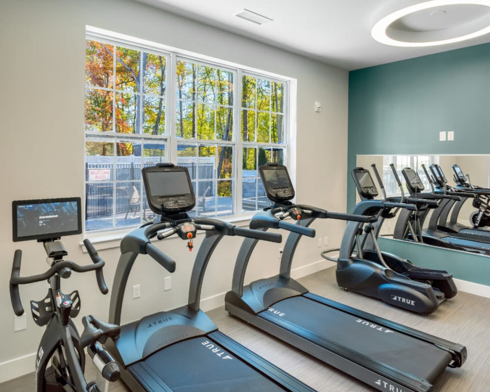Cardio equipment at The Cove at Gateway's fitness center in East Lyme, Connecticut