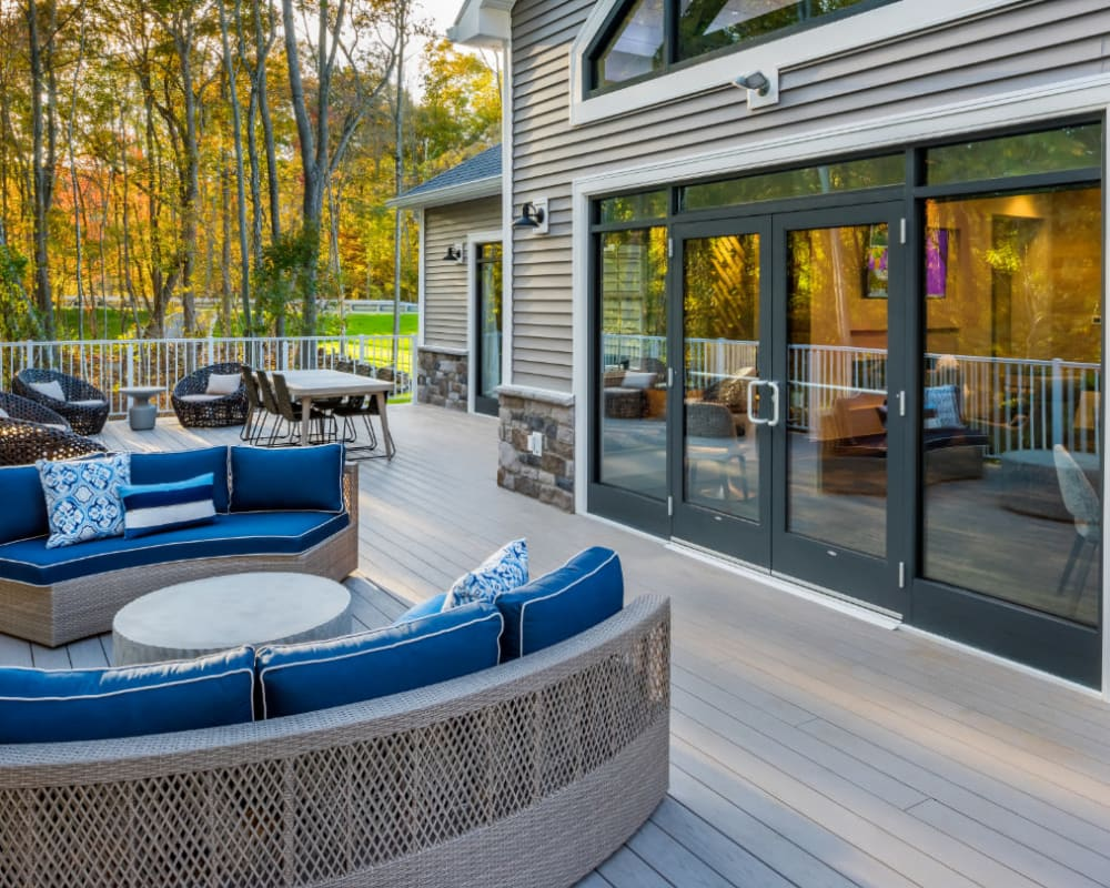 Cozy outdoor couch at The Cove at Gateway in East Lyme, Connecticut