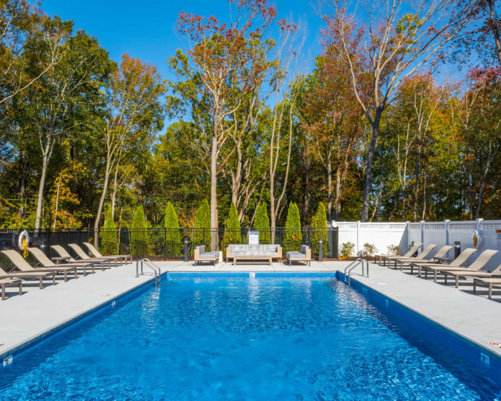 Sparkling swimming pool at The Cove at Gateway in East Lyme, Connecticut
