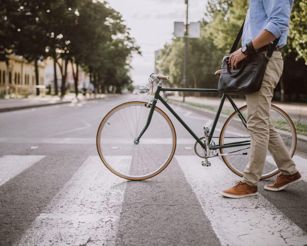 Resident walking his bike across the street in Amherst, Massachusetts near Hawkins Meadow