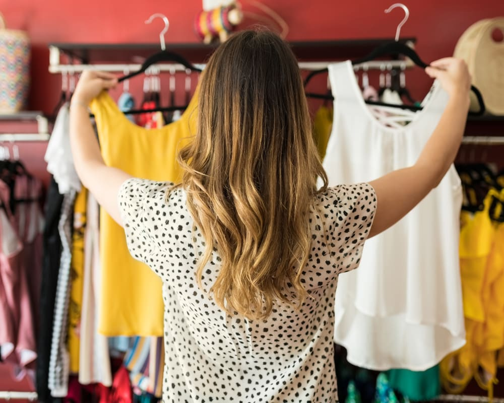Resident shopping for clothes at Laurel Ridge in Northampton, Massachusetts