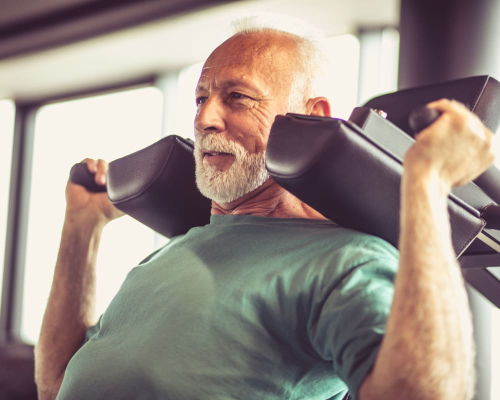 Resident working out at Park Edge Apartments in Springfield, Massachusetts