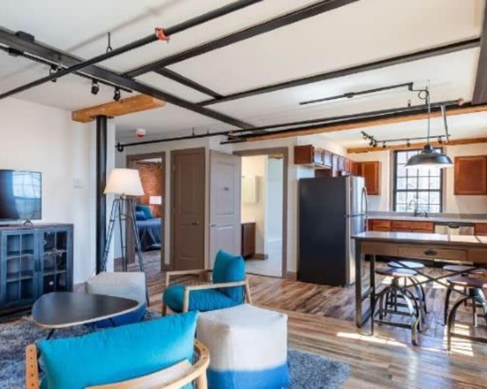 Living room at Lofts at Cargill Falls Mill in Putnam, Connecticut
