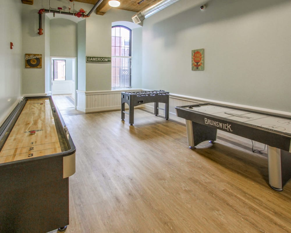 Game room at The Lofts at Ponemah Mills in Taftville, Connecticut