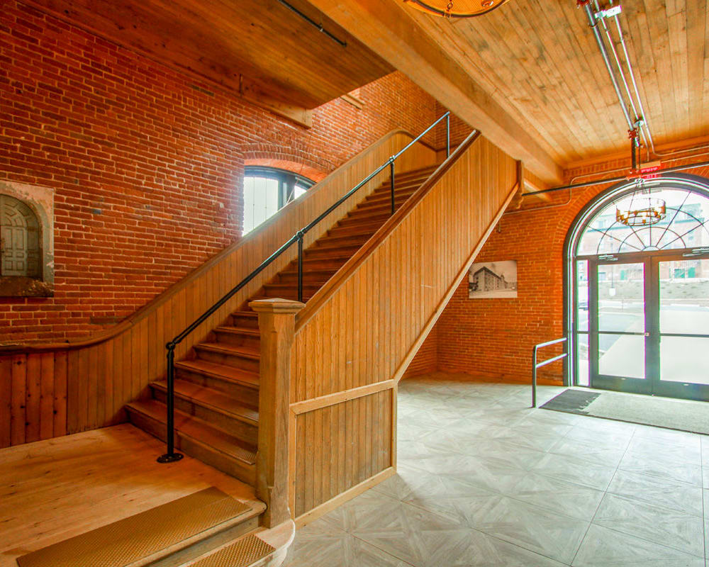 Main lobby at The Lofts at Ponemah Mills in Taftville, Connecticut