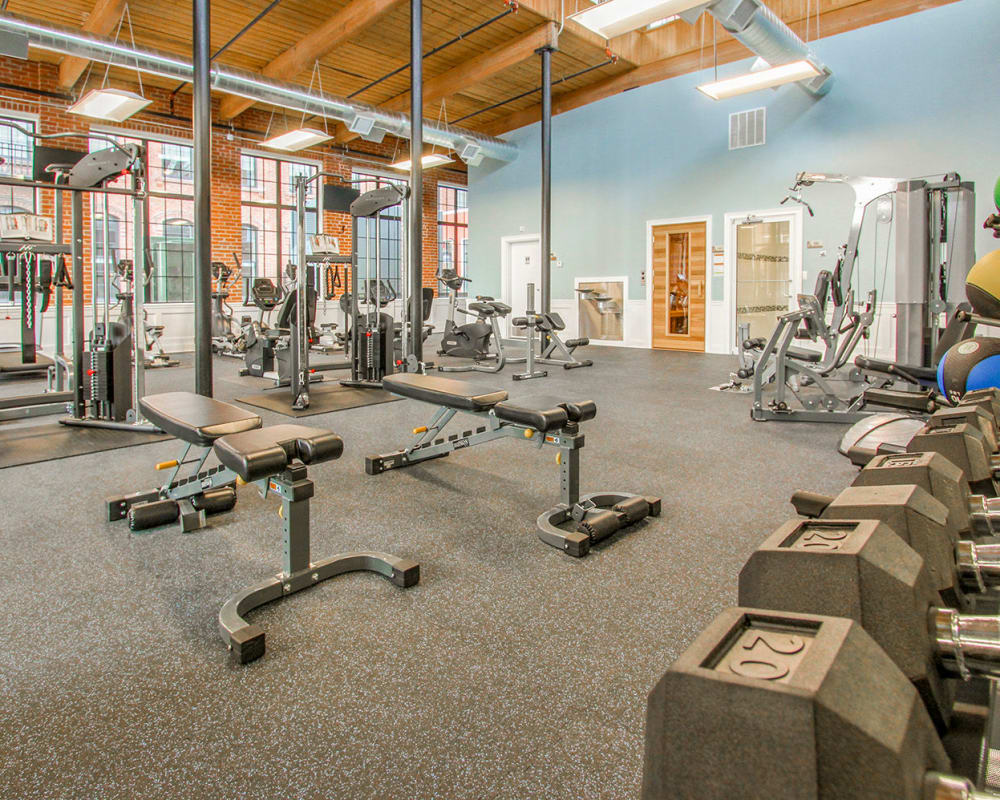 Fitness center at The Lofts at Ponemah Mills in Taftville, Connecticut