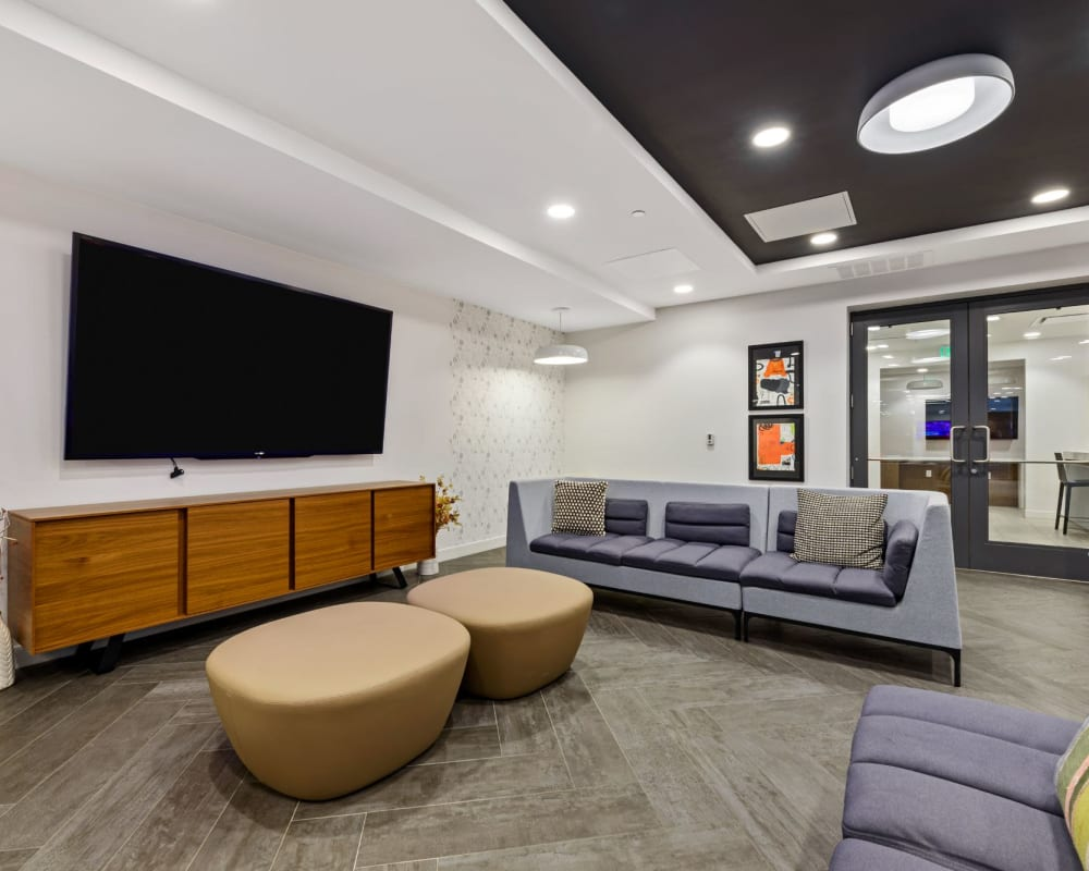 Common room with large tv and couches to hang out in at The View on Pavey Square in Columbus, Ohio