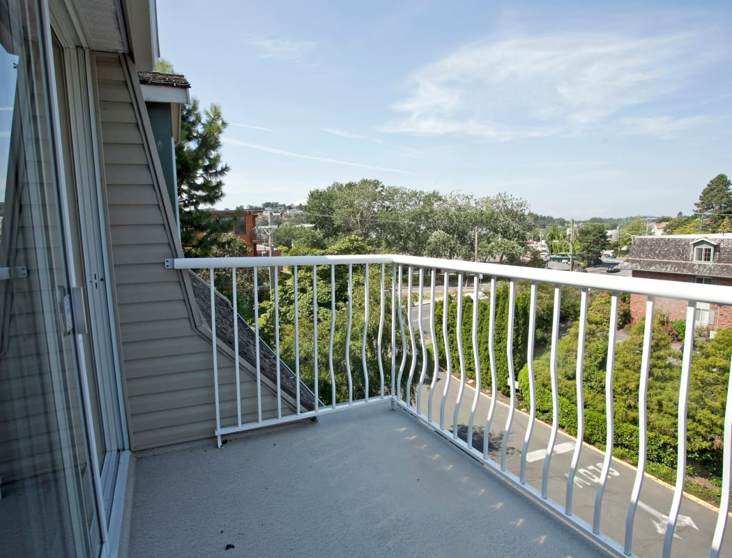 Balcony view from Fraser Tolmie Apartments in Saanich