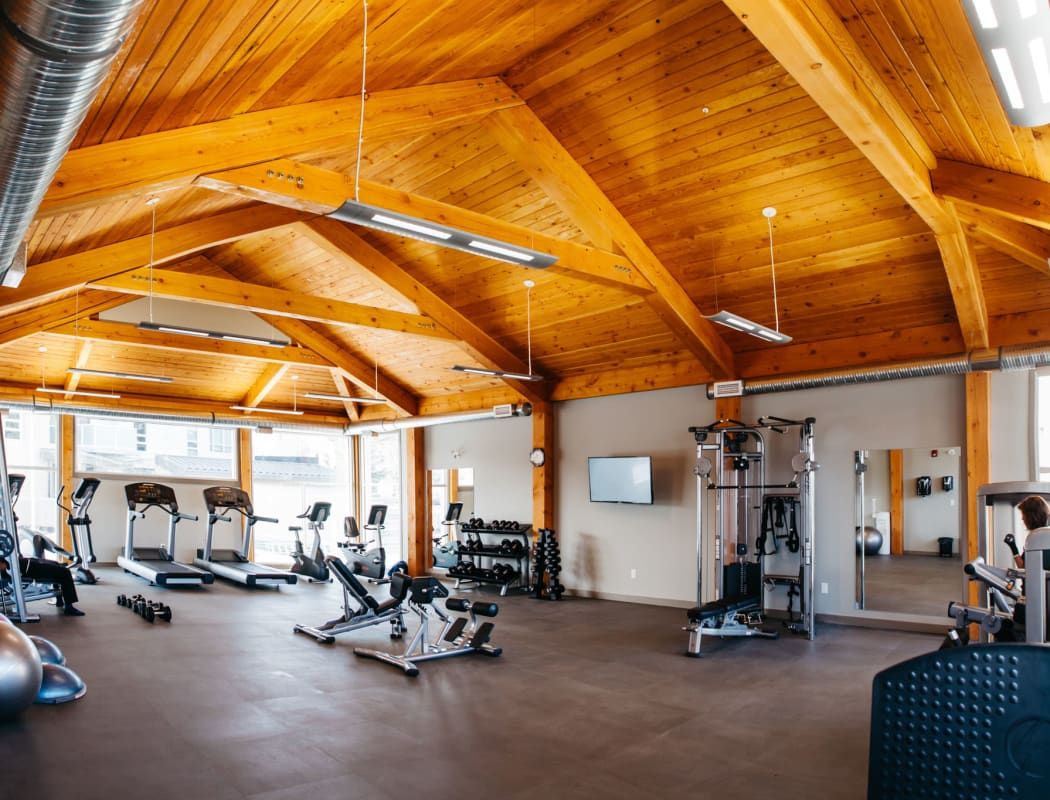 Modern fitness center at apartments in Calgary, Alberta