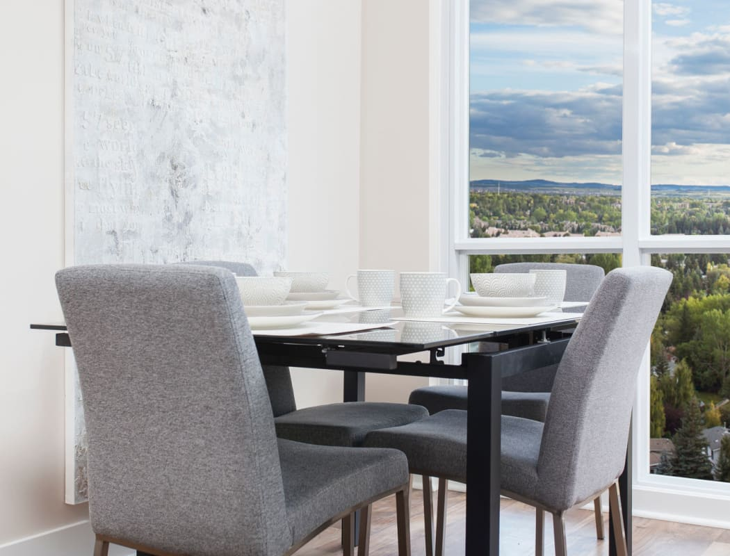 Dining table at Elata in Calgary, AB
