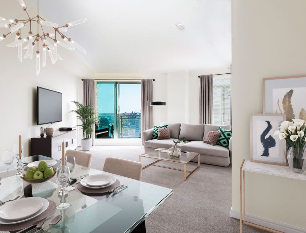 Beautiful living room at Discovery Pointe in Calgary
