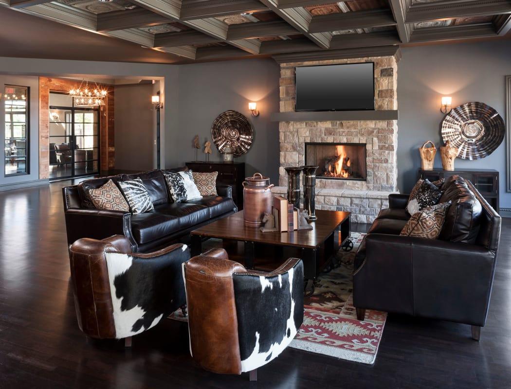 Beautiful fireplace at Hyde Park at Ribelin Ranch in Austin