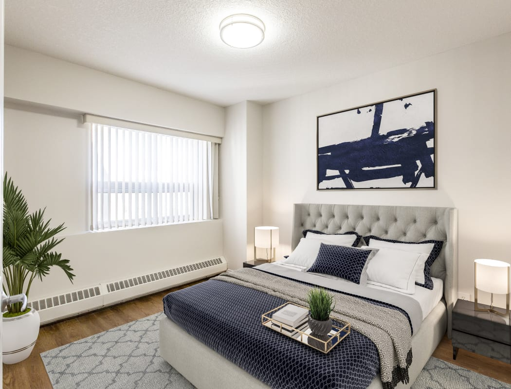 Beautiful bedroom at Park Square in Edmonton, Alberta