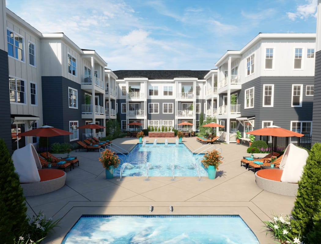 Rendering of pool at Avenida Cool Springs senior living apartments in Franklin, Tennessee