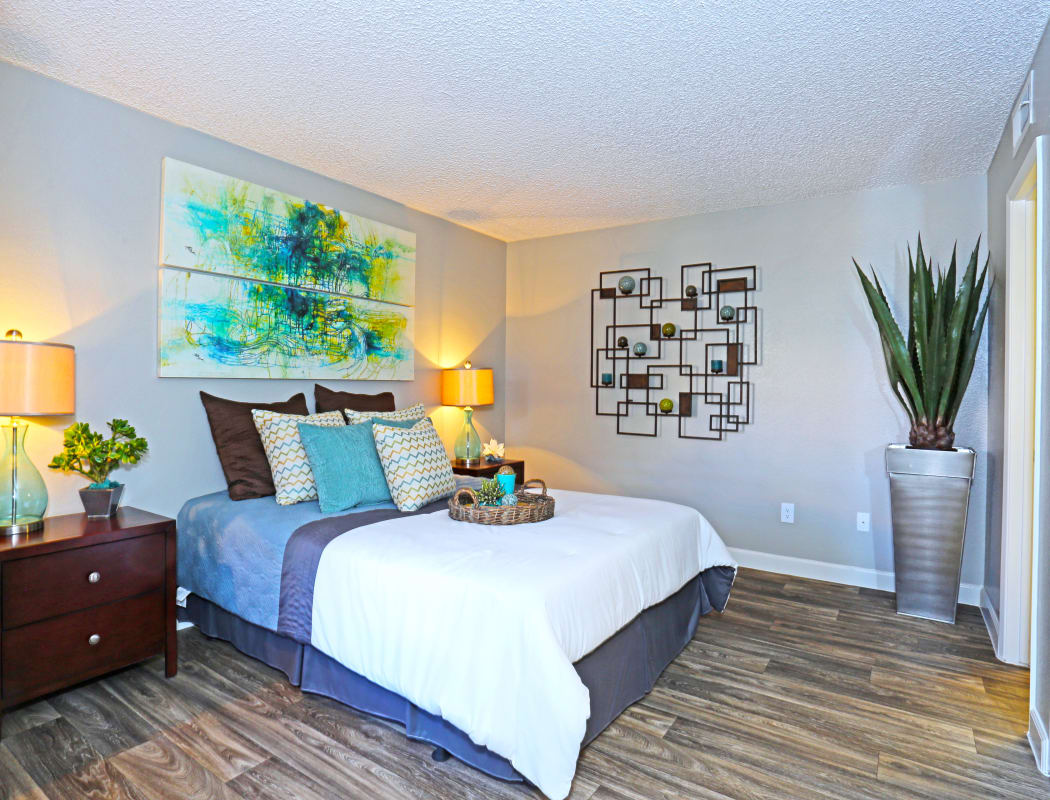 Spacious and bright master bedroom in model home at Solis at Flamingo in Las Vegas, Nevada