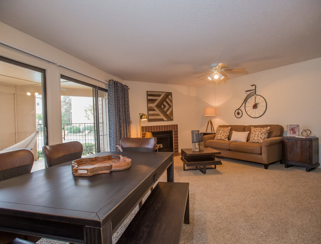 Model living room at Copperfield Apartments in Oklahoma City, Oklahoma
