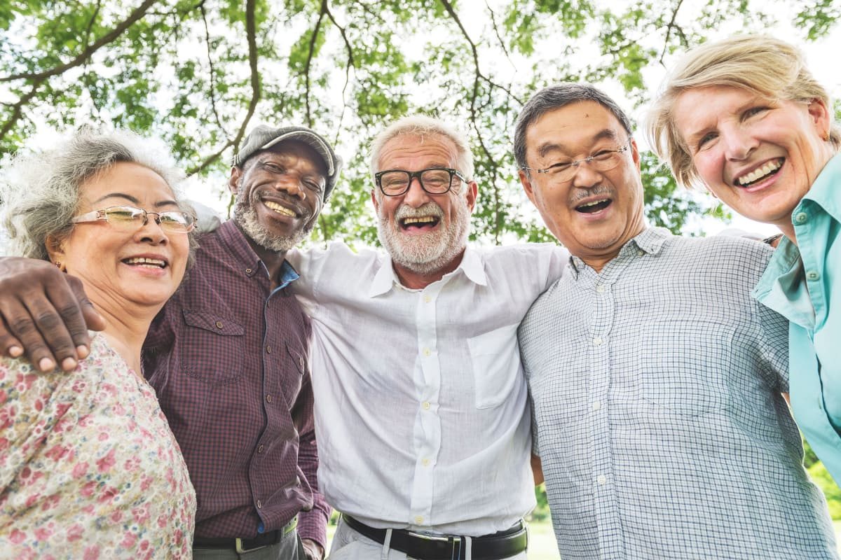 Joyful residents gathered together at Sandpiper Village in Mt. Pleasant, South Carolina