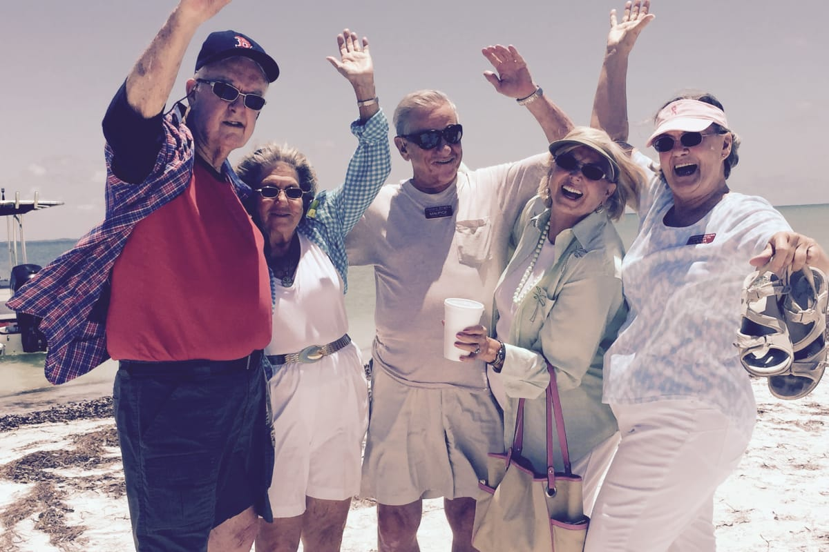 Residents of Steeplechase Retirement Residence in Oxford, Florida at the beach