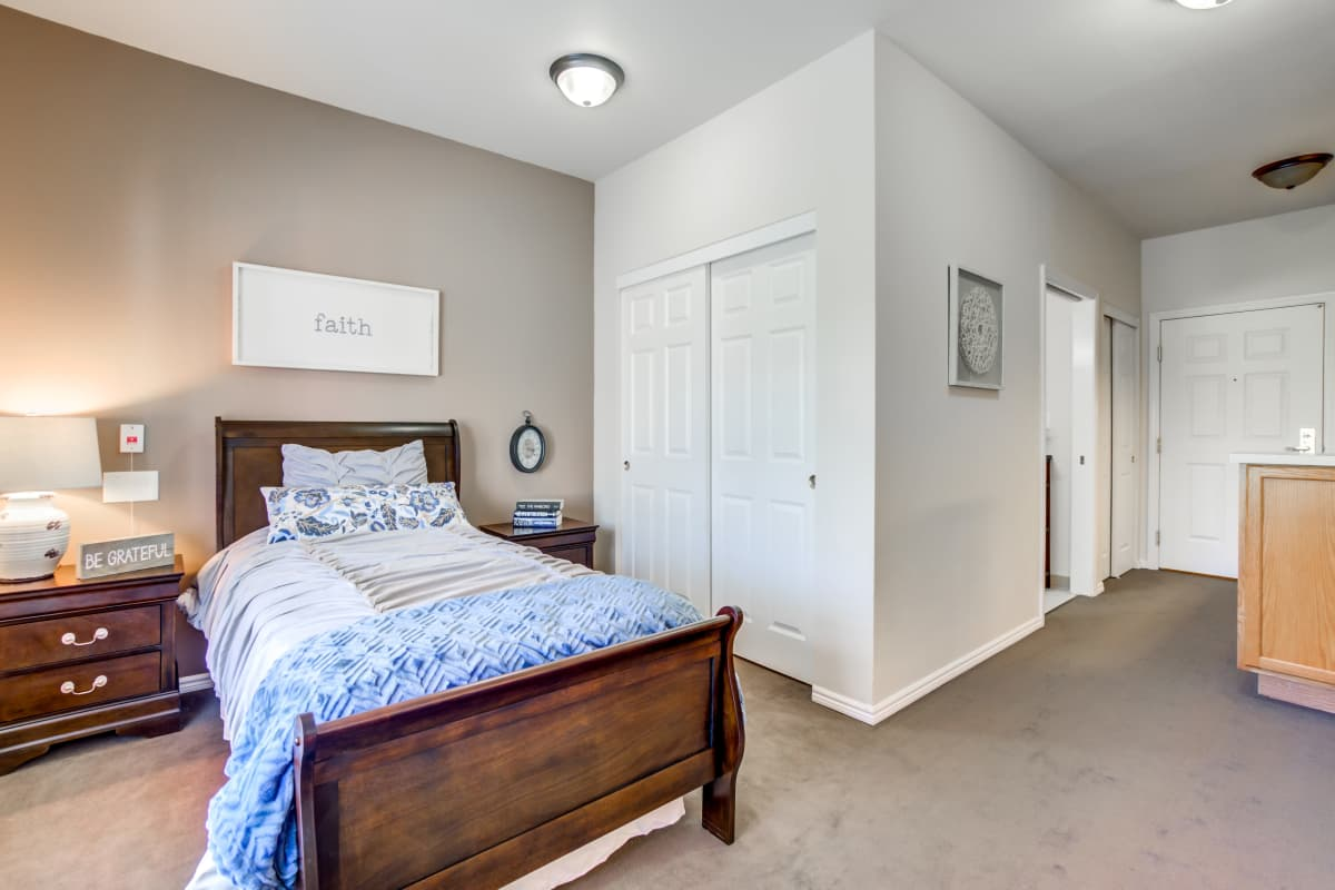 Spacious bedroom at Cottonwood Court in Fresno, California