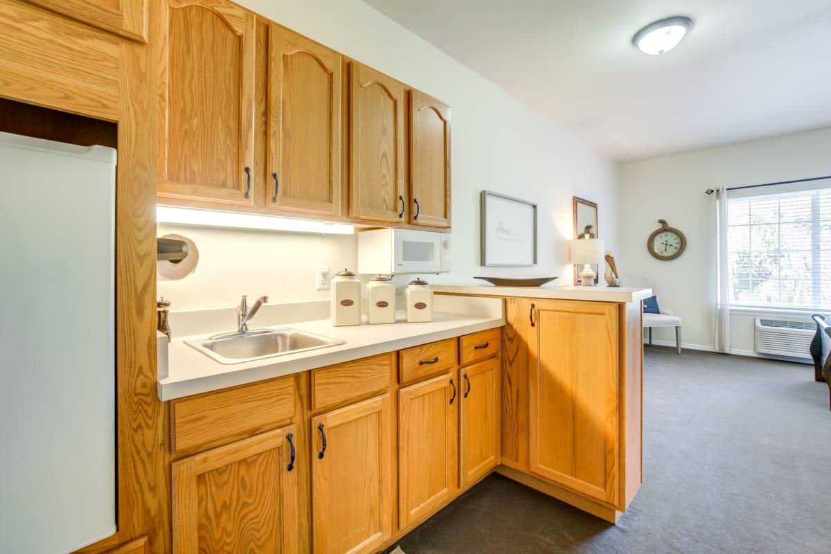 Spacious kitchen at Cottonwood Court in Fresno, California