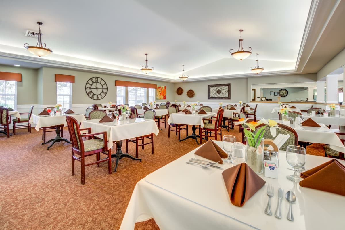 Spacious dining room at Cottonwood Court in Fresno, California