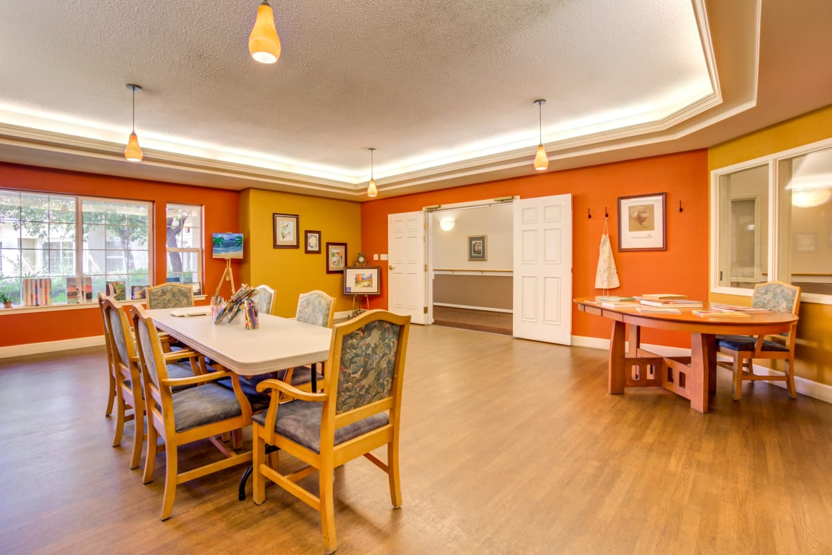 Model of dining room at Cottonwood Court in Fresno, California
