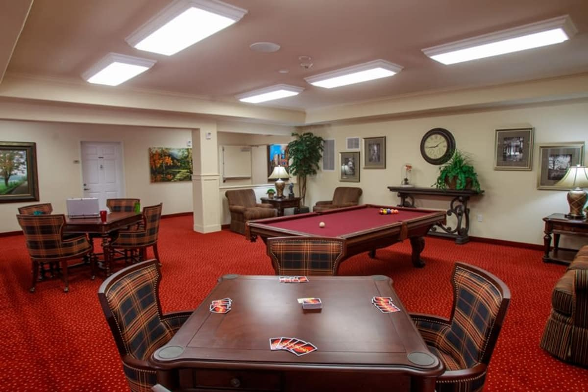 Billiards table at Estrella Estates Gracious Retirement Living in Goodyear, Arizona