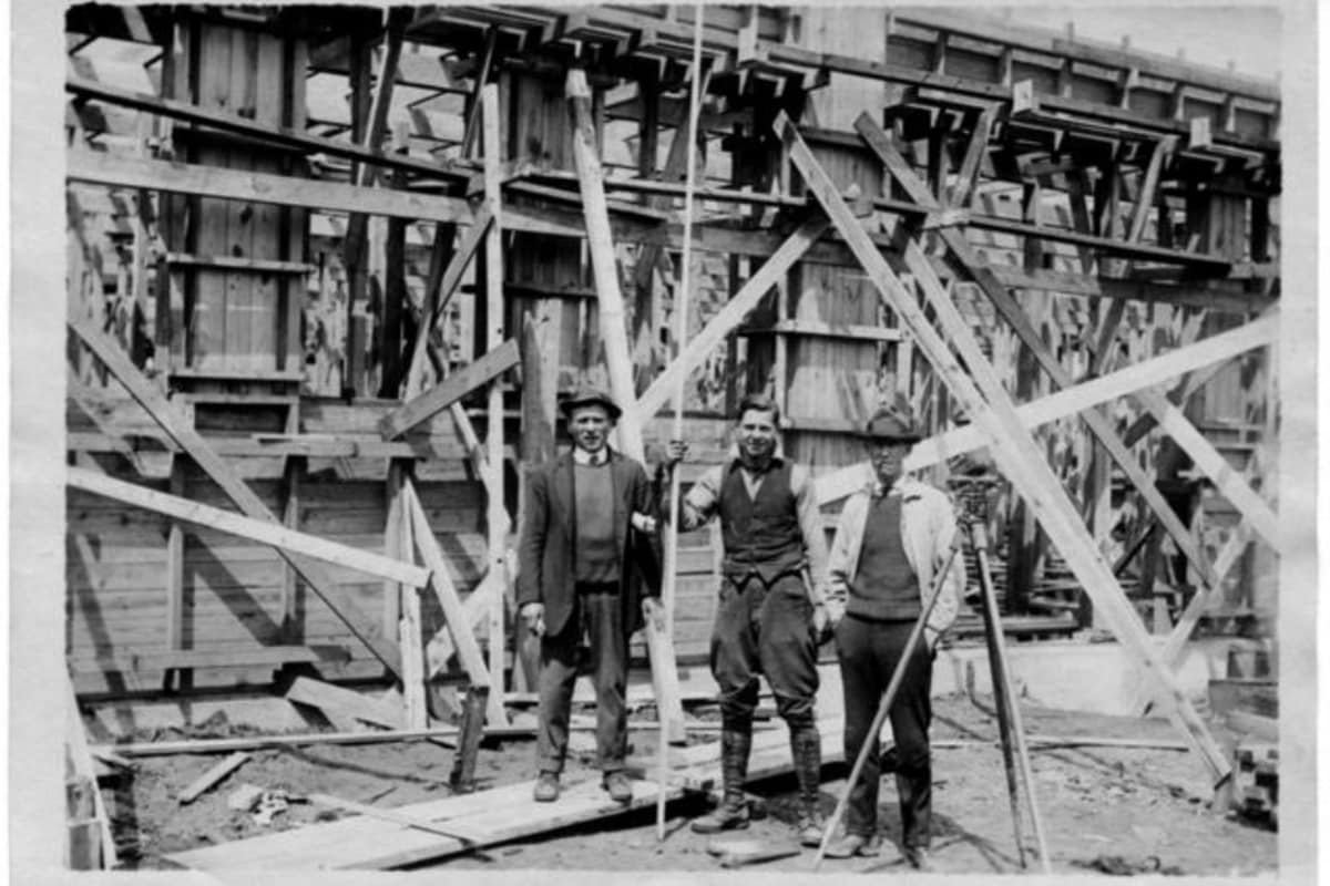 Construction workers at Montgomery Mill Apartments in Windsor Locks, Connecticut