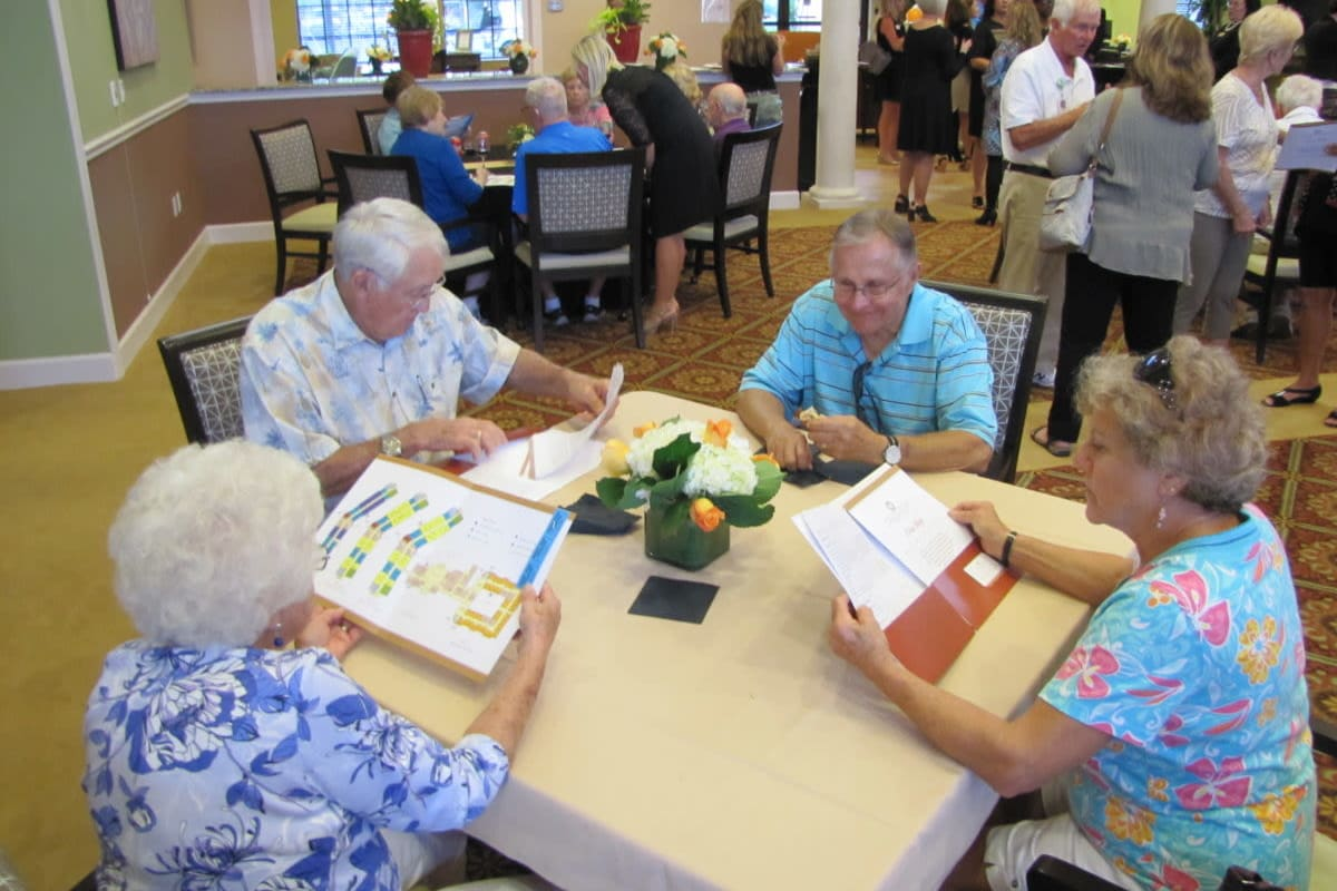 Residents learning about offerings at Cypress Point in Fort Myers, Florida.